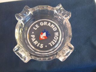 LE GRAND HOTEL PARIS FRANCE VINTAGE GLASS ADVERTISING TRAVEL SOUVENIR