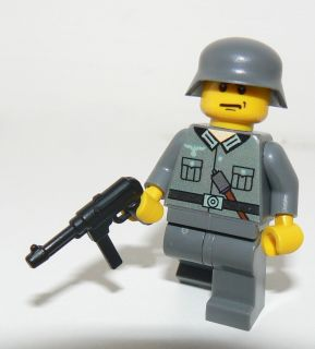 Lego German Soldier WW2 MP 40 Custom Figure RARE Dark Grey