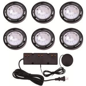Hampton Bay 6 Light Black Under Cabinet Xenon Puck Light Kit