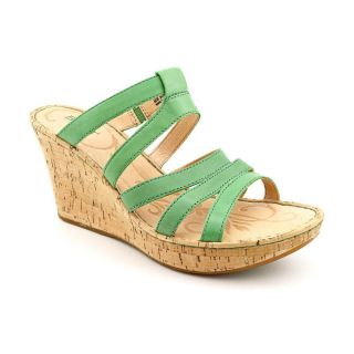 Born Lisi Womens Size 9 Green Open Toe Leather Wedge Sandals Shoes