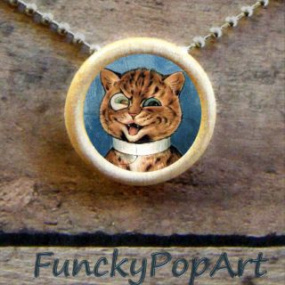 Louis Wain Tabby Cat with Monocle Pendant Art Necklace