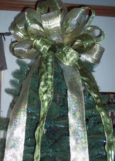 15 Christmas Tree Topper Bow Christmas Gold Sage Green Wreath Swag