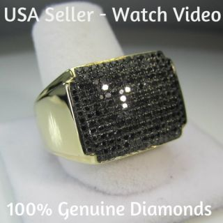 CARAT MENS YELLOW GOLD FINISH PAVE BLACK DIAMOND ENGAGEMENT WEDDING
