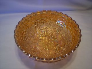 Imperial Marigold Carnival Glass Grape Bowl 7 Width