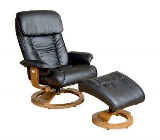 Mac Motion Black Leather w Pecan Recliner Chair 819