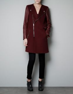 NEW Womens Chic ZARA Style Leather Sleeves BURGUNDY Wine RED Long Coat