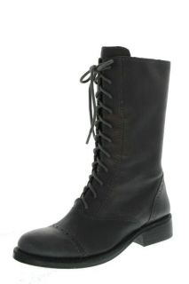 Vince NEW Fantasa Gray Leather Front Lace Mid Calf Combat Boots Shoes