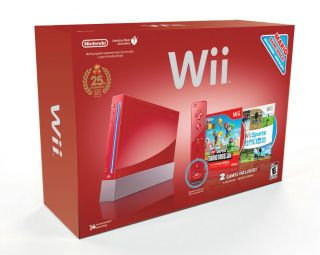 New Red Nintendo Wii 25th Anniversary with New Super Mario Bros Wii