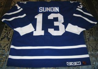 Maple Leafs Mats Sundin Signed Center Ice CCM Maska Game Jersey 52 w
