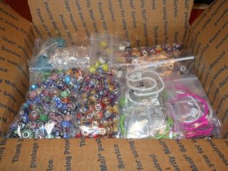 HUGE LOT of EUROPEAN MURANO GLASS BEADS SPACERS BRACELETS WHOLESALE