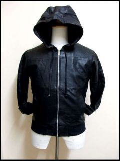 New Members Only Style Leather Hood Hooded Jacket XS