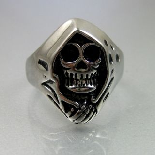 Biker Mens Black Silver Stainless Steel Grim Reaper Skull Ring