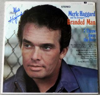 Merle Haggard Branded Man Signed LP Record Album Cover Autograph