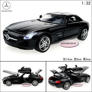 32 Mercedes Benz SLS AMG Alloy Diecast Car Model Toy Black Sound
