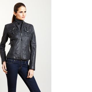 Michael Kors Leather Jacket New Motorcycle Coat Black