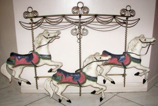 MID CENTURY MODERN SIGNED CURTIS JERE CAROUSEL HORSES METAL ART