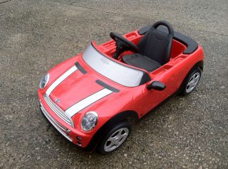 Mini Cooper Red Convertible Pedal Car Kids Toy