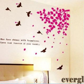 Red Falling Leafs Birds Removable PVC Wall Sticker Home Decor Room