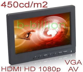 DSLR HD 1080p HDMI 450cd/m2 RCA AV VGA LED LCD Monitor Cam On