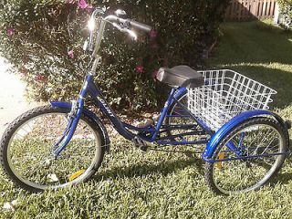 New Adult Tricycle 6 Speed spd Shimano   BLUE Trike 24 three 3 wheel