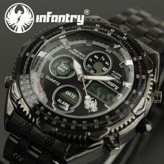 Mens Army LCD Sport Digital Analog Black Quartz Watch Waterproof