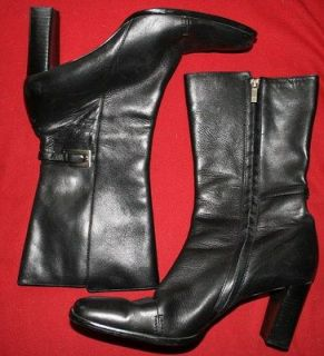 ANNE KLEIN Black Leather Mid Calf 3.25 Heels Boots for Narrow Feet Sz