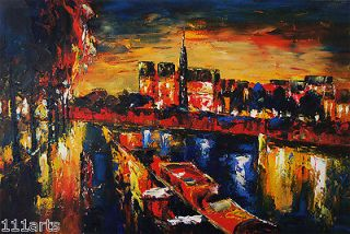 30x20 MODERN original oil painting on canvas Paris city at night