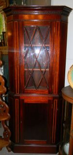 ANTIQUE 1900 HEPPLEWHITE MAHOGANY CORNER CHINA CABINET