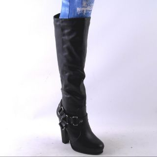 NEW WOMENS BLACK KNEE HIGH PLATFORM HIGH HEEL BOOTS