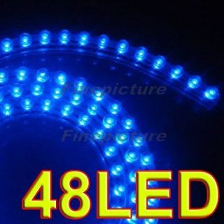 48pcs Super Bright LED Strip Car Lights Flexible Grill Light 12V Blue