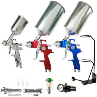 10 pc Set 3 HVLP SPRAY GUN KIT Auto Paint Primer Topcoat Detail