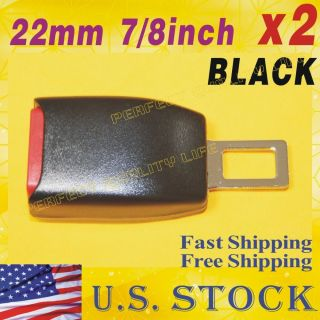 2Pcs Black Auto Car Extension Safety Seat Belt Lock Buckle 7/8 inch