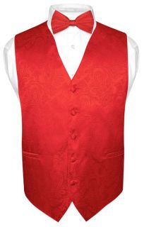 Mens Red Paisley Design Dress Vest and BOWTie Set for Suit or Tuxedo