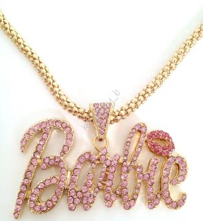 Shimmering Crystal Bling Nicki Minaj 3 LARGE BARBIE Necklace