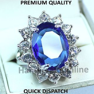 ladies Ring silver color blue Zirconia gemstone kate middleton wedding