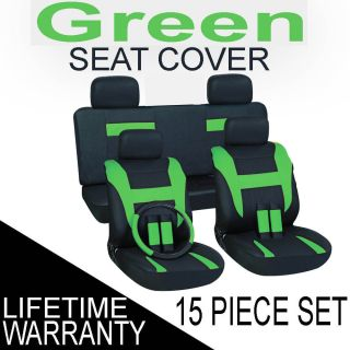 15pc Set Green Black Auto Car Seat Covers FREE Steering Wheel Belt Pad