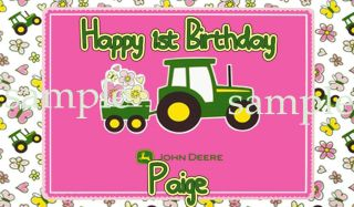 SHEET PINK TRACTOR Edible CAKE Decoration Image Icing Topper