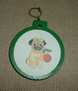 Holding a Twig Green White Wooden Christmas Tree Ornament USA Ship Inc