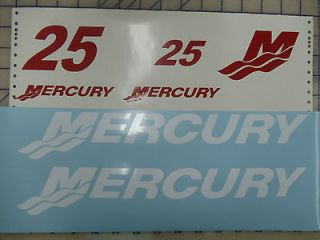 Mercury Outboard Boat Motor Decals 25HP (seven piece kit)