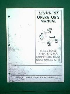 LAWN BOY RE8e RE12e REAR ENGINE RIDING MOWER MANUAL