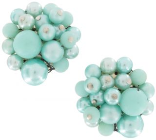 Vintage Japan Blue Green Faux Pearl Beaded Cluster Earrings Carded