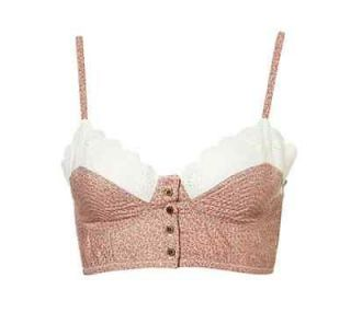 LOOK Topshop Pink & White Lace Ditsy Floral Bralet 10/12/14 BNWT