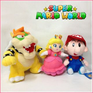 3X Super Mario Plush Soft Toy Princess Peach Bowser Baby Mario Stuffed