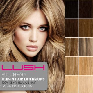LUSH Clip In Remy Human Hair Extensions Full Head  Many Colours