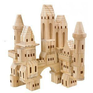 75 Piece Wooden Castle Blocks   Wood Toy Buildings and Bridges