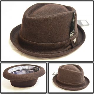 NEW WOOL WINTER FEDORA PORK PIE UPTURN STINGY BRIM FEATHER TRILBY HAT