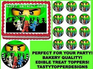 Green Ninja NEW Theme Edible Cake Topper Image Cupcakes ALL SIZES