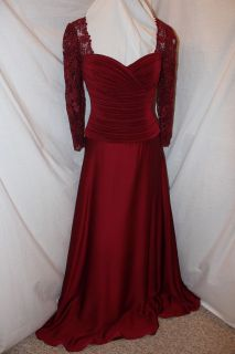 NWT Size 8 WINE red Cameron Blake 28677 HOLIDAY formal gown/Lace