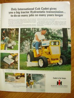 1968 International Harvester Cub Cadet Lawn Tractor Ad Hydrostatic