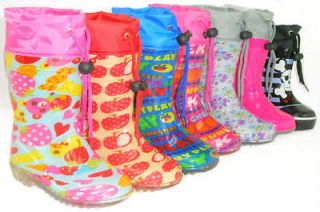 Girls Boys Kids Flat GALOSHES WELLIES RUBBER RAIN Boots YOUTH /TODDLER